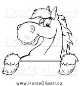 Clip Art of a Lineart Happy Horse over a Sign by Hit Toon
