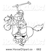 Clip Art of a Lineart Polo Player Holding up a Stick by Hit Toon