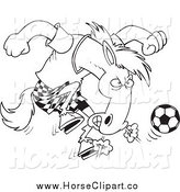 Clip Art of a Lineart Soccer Stallion by Toonaday