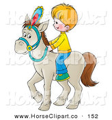 Clip Art of a Little Blond Caucasian Boy Riding a White Horse by Alex Bannykh