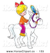 Clip Art of a Little Blond Caucasian Girl Riding a White Horse by Alex Bannykh