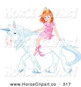 Clip Art of a Little Pink Princess Riding a White Unicorn by Pushkin