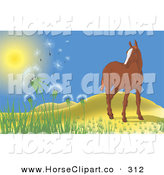 Clip Art of a Lone Brown Horse near Rolling Hills, Watching the Wind Blow Dandelions into the Air by Paulo Resende