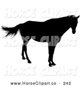 Clip Art of a Lone Horse Silhouetted in Black on White by Dero