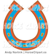 Clip Art of a Lucky Blue, Red and Orange Horseshoe Upside down by Andy Nortnik