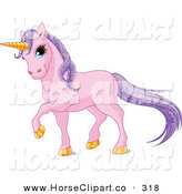 Clip Art of a Magical Pink Unicorn with Golden Hooves and a Horn and Sparkling Purple Hair by Pushkin