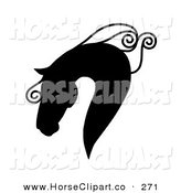 Clip Art of a Majestic Black Silhouetted Horse Head in Profile, with a Curly Mane on White by C Charley-Franzwa