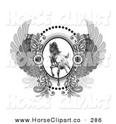 Clip Art of a Majestic Charging Stallion on a Crest with Iron Crosses and Wings on White by C Charley-Franzwa