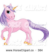 June 26th, 2013: Clip Art of a Majestic Pink Unicorn with Sparkling Purple Hair and a Golden Horn by Pushkin