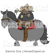 Clip Art of a Male Cowboy Dog Riding a Horse by Djart