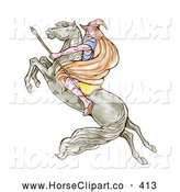 Clip Art of a Male Wizard Carrying a Spear and Riding on a Leaping Horse to the Left by Patrimonio