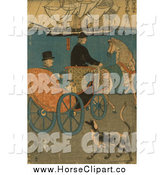 Clip Art of a Man in a Horse Drawn Carriage, a Dog Alongside by JVPD