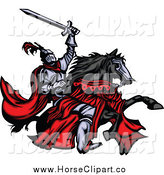 Clip Art of a Medieval Knight Wielding a Sword and Riding His Black Horse by Chromaco