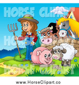 Clip Art of a Muddy Pig, Sheep and Farmer Girl by a Fence with a Cow and Horse by Visekart