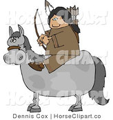 Clip Art of a Native American Sitting on a Horse with Bow an Arrow by Djart