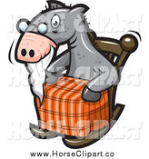 Clip Art of a Old Horse Sitting in a Rocking Chair by Jtoons