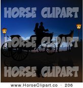 Clip Art of a Pair of Romantic People in a Horse Drawn Carriage, Silhouetted Between Lanterns Against the Blue of Night by Dero