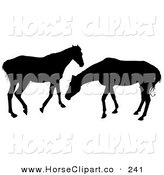 Clip Art of a Pair of Silhouetted Horses Playing by Dero