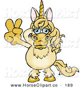 Clip Art of a Peaceful Unicorn Smiling and Gesturing the Peace Sign on White by Dennis Holmes Designs