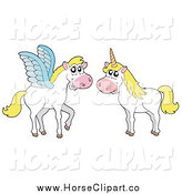 Clip Art of a Pegasus and a Unicorn by Visekart