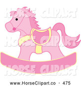 Clip Art of a Pink and Yellow Children's Rocking Horse Toy by Pams Clipart
