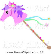 Clip Art of a Pink Stick Pony with Ribbons and a Flower Headband by