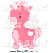 Clip Art of a Pink Winged Unicorn Prancing by BNP Design Studio