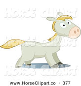 Clip Art of a Playful Gray and Blond Pony Looking Right by Frisko