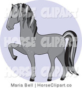 Clip Art of a Prancing Gray Dapple Horse in Profile Facing Left over a Blue Circle by Maria Bell