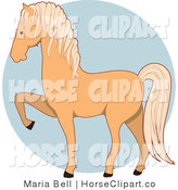 Clip Art of a Prancing Palomino Horse in Profile Facing Left over a Blue Circle by Maria Bell