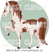 Clip Art of a Prancing White and Brown Pinto Horse Facing to the Left over a Green Circle by Maria Bell