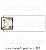 Clip Art of a Pretty Artistic Palomino Horse Head over a White Text Box by C Charley-Franzwa