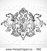 Clip Art of a Pretty Black and White Winged Horse Design Element by BestVector