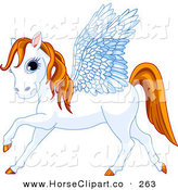 Clip Art of a Pretty Blue Eyed White Winged Pegasus Horse with an Orange Mane and Tail by Pushkin