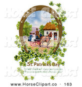 Clip Art of a Pretty Gilded Lucky Horse Shoe with Shamrock Surrounding a Scene of Ladies Riding on a Horse Drawn Wagon by OldPixels