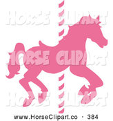 Clip Art of a Pretty Silhouetted Pink Carousel Horse on a Pole by Pams Clipart