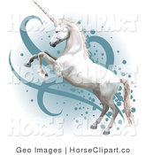 Clip Art of a Pretty White Horned Horse Rearing up on Its Hind Legs by AtStockIllustration