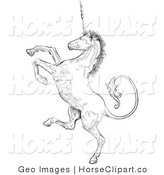 Clip Art of a Profile of a Unicorn Rearing up on His Hind Legs, Facing Left by AtStockIllustration