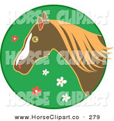 Clip Art of a Profiled Brown Horse over a Green Floral Circle on White by Prawny