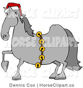 Clip Art of a Proud and Handsome Gray Horse Decked out in a Red Santa Hat and Golden Jingle Bells on Christmas by Djart
