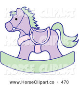 Clip Art of a Purple and Green Children's Wooden Rocking Horse Toy by Pams Clipart