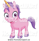 Clip Art of a Purple Happy Baby Unicorn by Yayayoyo