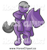 Clip Art of a Purple Jockey Rcing a Horse by Leo Blanchette