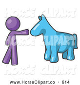 Clip Art of a Purple Man Reaching out to Pet a Blue Horse by Leo Blanchette