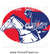 Clip Art of a Racing Jockey in a Red Oval by Patrimonio