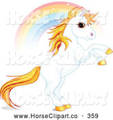 Clip Art of a Rainbow Streaming Behind a Beautiful Fantasy Unicorn Rearing up by Pushkin