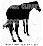 Clip Art of a Rear View of a Horse Silhouetted in Black and Facing Right by Dero