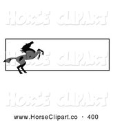 Clip Art of a Rearing Silhouetted Black Horse Website Banner with a Blank Text Box by C Charley-Franzwa