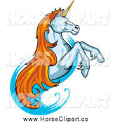 Clip Art of a Rearing Unicorn with Orange Hair by Vector Tradition SM