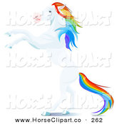 Clip Art of a Rearing up White Horse with a Rainbow Colored Mane and Tail, Rearing up on Its Hind Legs by Pushkin